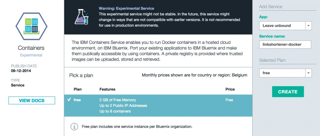 Bluemix Containers
