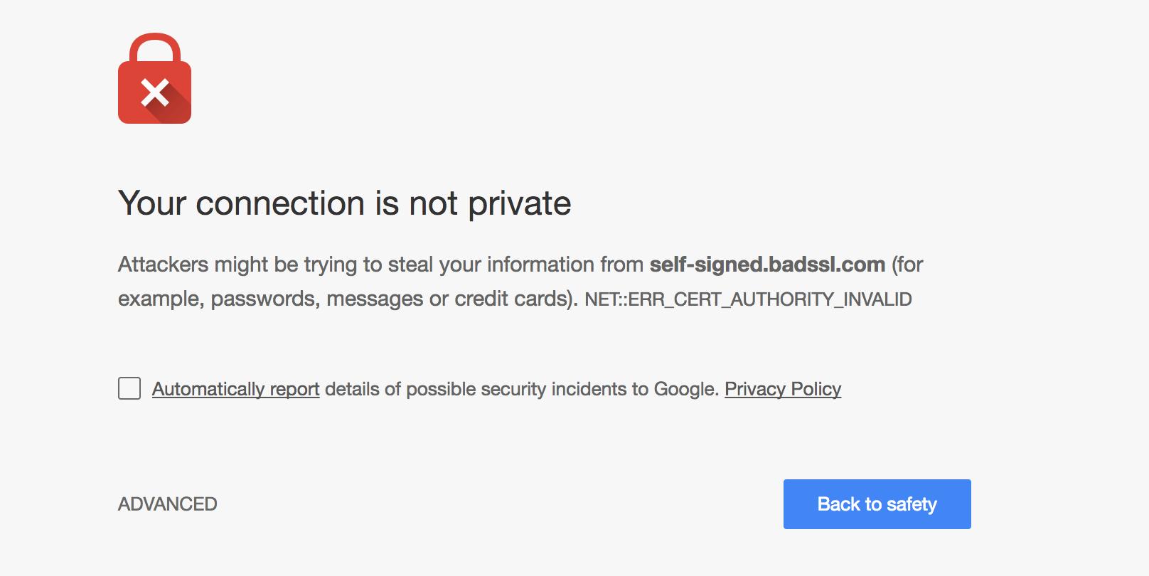 Untrusted certificate
