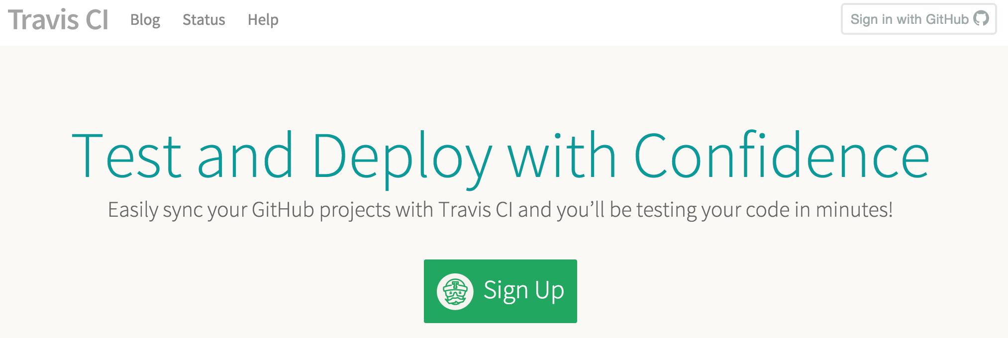 Travis CI sign up